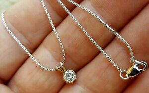 Fine Estate 14K White Gold .44 Carat VS2 H Diamond Solitaire Pendant Necklace