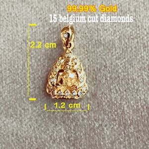 96.5% Gold with diamonds Luang Pu Thuat Thai Amulet Pendant Protection Power