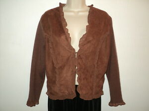 Bagatelle Size L Large Cardigan Sweater Jacket Brown Suede Look Knit BackSleeve