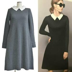 FOXEY Knit Dress Marion with White Collar Gray Ladies Size 38 Elegant Y68