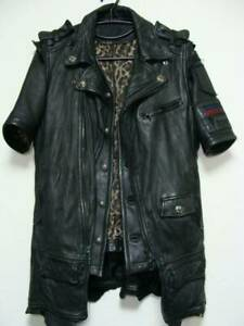 Roen Leather Baseball Shirt Short Sleeves Size 46& Vest Size 50 Black Y71