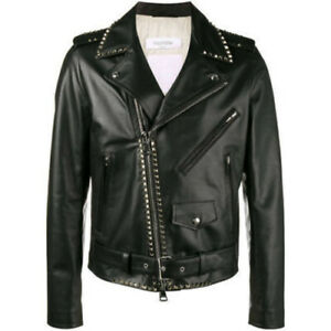VALENTINO Leather Riders Jacket Black Men's Size 44 Rock Studs Genuine Y72A
