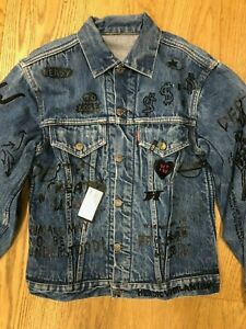 R13 Denim Jacket Multi Patch OS Levis Blue Repurposed Trucker Vintage Graffiti