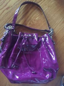 Coach purple Madison Marielle 17745 Patent Leather drawstring purse handbag bag