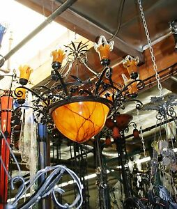 HAND MADE ART DECO STYLE 9 LIGHTS WROUGHT IRON GLASS CHANDELIER MULTICOLOR