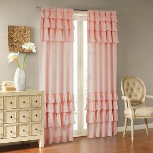 Pink Curtain Ruffle Panel Girls Bedroom Nursery Drape Window Covering Treatment