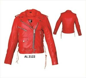 LADIES RED PREMIUM COWHIDE LEATHER MOTORCYCLE JACKET SIZE LARGE