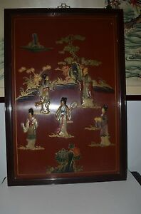 Chinese antique hand-painted and carved Shoushan stone lithographs hanging