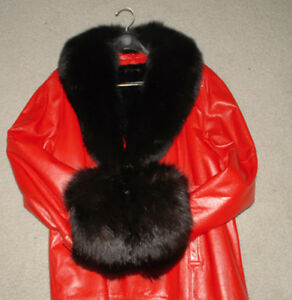 Ladies RED LEATHER BELTED JACKET with BLACK FOX COLLAR  !!