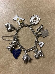 Vintage Sterling Silver Charm Bracelet W 10 Charms