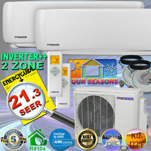 PIONEER 2 Zone DUAL Multi Split 20.7 SEER INVERTER Ductless Heat Pump Full Set