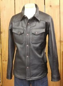 Flat Head Deerskin Leather Shirt FSD-32KA Size 40 Black Men's Jacket Western Y48