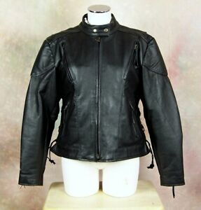 Event Black Leather Women's XL Zip Up Removable Liner Padded Motorcycle Jacket