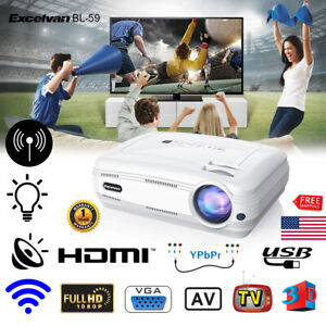 6400LM 1080P FHD Smart 3D Wifi Android 6.0 LED Projector Home Theater 1GB+8GB US