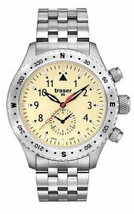 traser T5 Aviator Jungmeister Stainless Steel Ivory Dial Mens Watch 100372