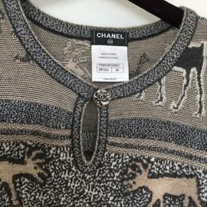 CHANEL Cashmere Sweater Knit Top Ladies Size 38 Made in France Reindeer M03A