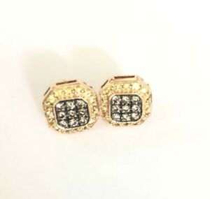 14kt Yellow Gold LeVian Citrine & Chocolate Diamond Octagon Stud Earrings Halo