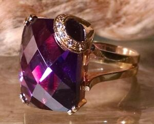 Fantastic 16 Ct Briolette Cut Amethyst 14K Yellow Gold Ring Diamond Accen