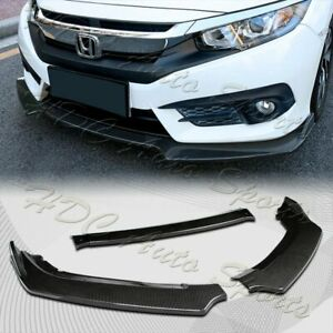 For 2016 2020 Honda Civic Carbon Style Front Bumper Body Kit Spoiler Lip 3PCS $44.99