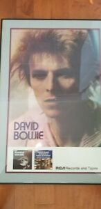 David Bowie Framed Promo Poster for Ziggy Stardust and Hunky Dory Albums 1972