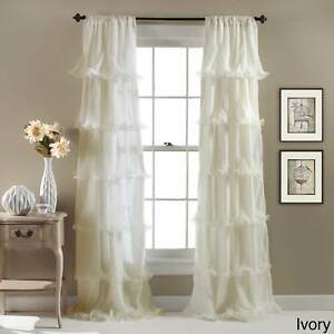 Ruffle Curtain Ivory Girls Panel Nursery Bedroom Drape Window Covering Treatment