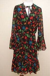CALVIN KLEIN Designer Dress SIZE 8 Floral Bell Sleeve NEW with tags