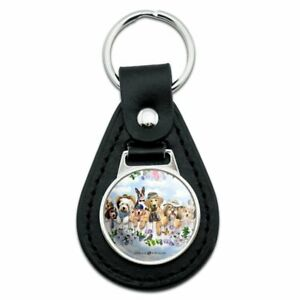 Black Leather Dogs Outdoors on Fence Pattern Keychain