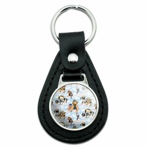 Black Leather Dogs Puppies Club Pattern Keychain