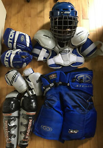 Easton Bauer Youth Ice Hockey Gear Lot: Helmet Gloves Pads Elbow Shin Guards