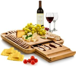Cheese Serving Board Cutlery Set Party Appetizer Service 100% Natural Bamboo
