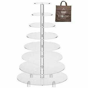 Jusalpha 8 Serveware Tier Wedding Party Acrylic Round Cake Stand Cupcake Tower