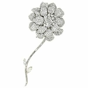 Diamond 18K White Gold Flower Brooch Separating Stem