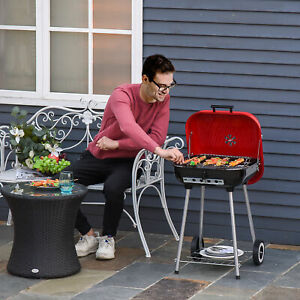 """19"""" Steel Porcelain Portable Outdoor Charcoal Barbecue Grill w/ Wheels"""