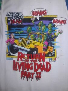 Vintage RETURN OF THE LIVING DEAD PART 2 shirt 80s cult horror movie RAP HIP-HOP