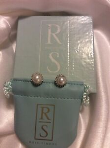 Ross Simons 14K White Gold Cultured Pearl 14 ct Diamond Halo Stud Earrings QVC