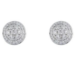 BONY LEVY 18K White Gold Pave Diamond Round Halo Stud 0.17ctw Earrings $895  NEW
