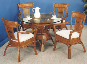 Rattan Man 6 Piece Indoor High Quality Captiva Rattan Dining Set with Cushions