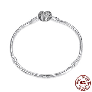 Authentic 925 Sterling Love Heart Clip Charm Bracelets For Women Fashion Jewelry