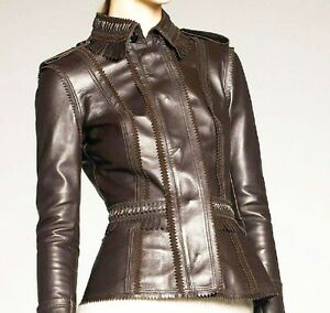 $3995 Burberry Prorsum Fringe Trim 12 38quot; Leather Jacket Women Motorcycle NEW