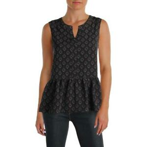 Cupcakes and Cashmere Womens Black Pattern Peplum Tank Top Blouse S BHFO 4265