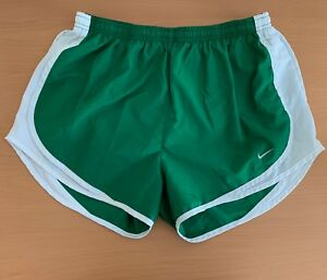 Woman's Nike Dry-Fit Running Shorts Size M Green with White Mesh Good Condition