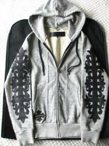 Chrome Hearts Floral Cross Patch Hooded Sweatshirt Grey Black Size S Y33