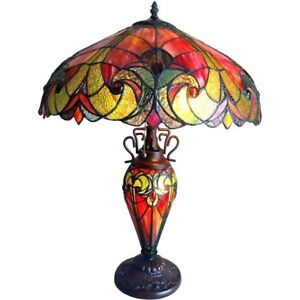 Tiffany Style Lamp Table Victorian Design Dark Bronze Side End Stained Glass