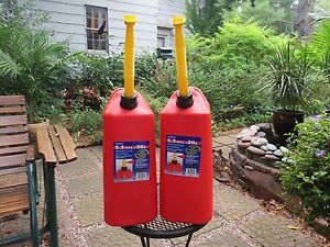 SET of 2 - NEW Vented Scepter 5.3 Gallon Plastic Jerry Gas Can Spout