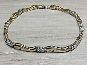 Pretty Women's 10K Yellow & White Gold 13 CT Diamond Tennis Bracelet 7.25