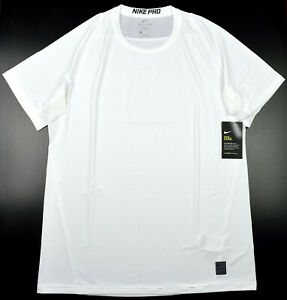 Nike Pro Dri-Fit Men's Large White Fitted T Shirt Athletic Gym Short Sleeve Tee
