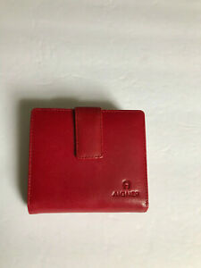Etienne Aigner RARE Red Kisslock Leather Coin Bi Fold Double Insert Wallet EUC