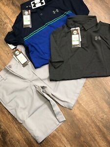 Under Armour Boys Match Play Golf Shorts And Polo Shirt New Size 12 Y Large $115