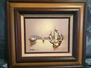 Vintage Original Oil Painting Artist Signed Nautical Impressionism Clipper Ships $49.99