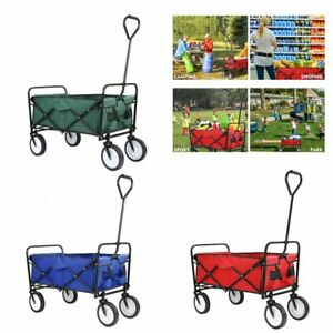 Pull Push Heavy Duty Collapsible Folding Wagon Beach Cart Outdoor Garden 4 Wheel